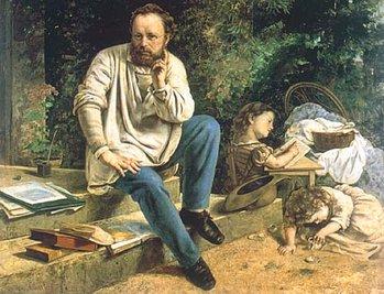 Pierre-Joseph Proudhon et ses enfants, gustave Courbet, 1865.