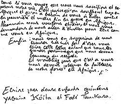 Lettre de Yaguine et Fodé